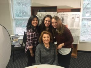 Better Together's Names, Not Numbers Class of 2017 students Chava Herzog, Tamar Serman and Yehudit Fleischhacker with Jeannine Paul.