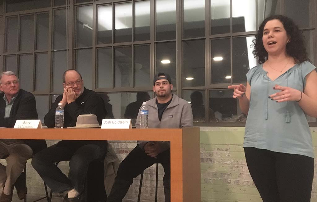 Baylee leads a panel discussion at Temple Crosstown
