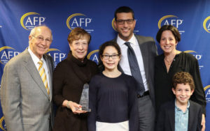 Michael and Andie Uiberall with granddaughter Sydney Shanker, son-in-law Scott Shanker, daughter Jill Uiberall Shanker, and grandson Jack Shanker at the 2016 Crystal Awards. Photo courtesy of the Jay Uiberall Foundation.