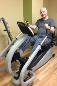 Terry uses the NuStep to stay in shape.
