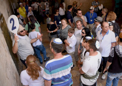 Family and friends gather for a tour of the Old City of Jerusalem.
