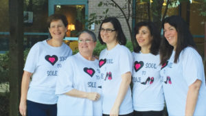 Team Soul to Sole Committee in 2015 (from left Lisa Harris, Judith Stone, Lindi Vanderwalde, Lorraine Wolf and Laurie Scheidt)