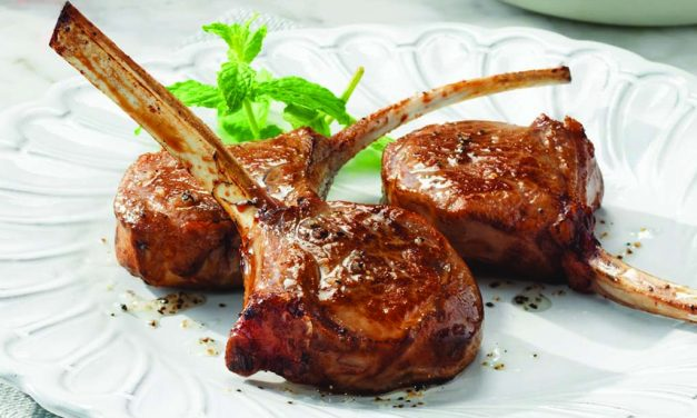 Passover Seder: Lollipop Lamb Chops with Sautéed Spinach and Apple Walnut Chutney
